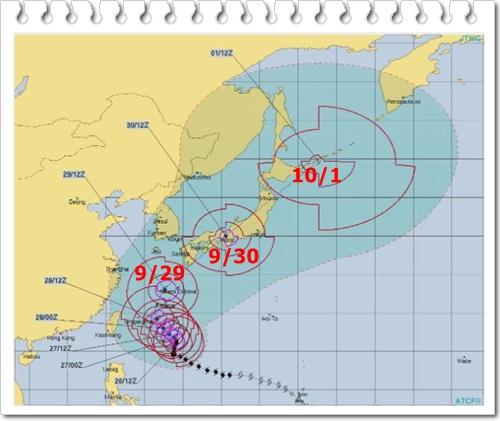 台風24号米軍予想