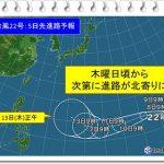 台風22号(2018)の規模や進路は?大阪東京上陸日はいつ?米軍予想も!