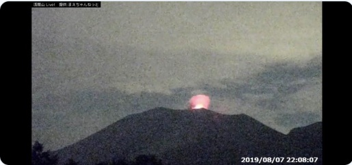 浅間山噴火の瞬間